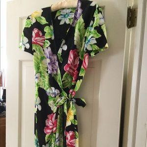 Maggie London Floral silk wrap dress